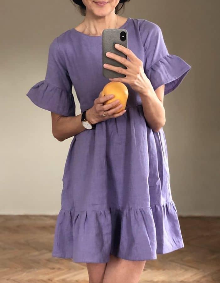 Soft Organic Linen Dress. Ruffle linen Dress Navy Blue Linen Dress Summer Linen Dress